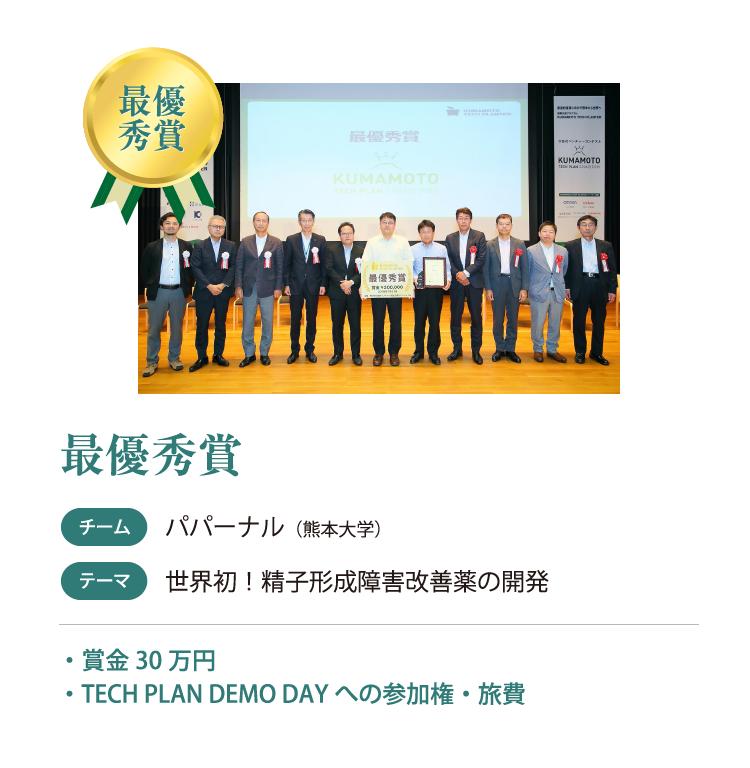 最優秀賞 チーム パパーナル(熊本大学) テーマ 世界初!精子形成障害改善薬の開発